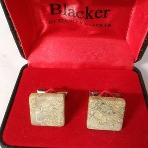 Men's polished stone cufflinks, with box